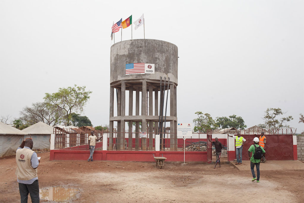 Water tower built by SOLIDARITÉS INTERNATIONAL serving safe drinking water in Gado camp